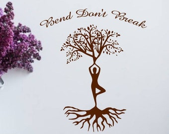 yoga wall decal, Bend Don't Break, inhale exhale, gift for yogi - yoga wall art, yoga vinyl decal, tree of life decal