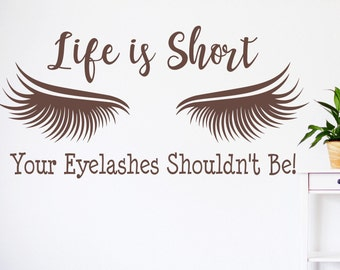 Eyelash extension decal, eyelash decor, eyelash art // Beauty salon decal, lashes decal