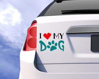 I love my dog decal, I heart my dog, bumper sticker, laptop decal, car decal, who saved who