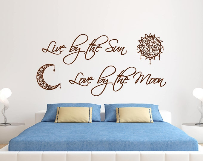 Live By The Sun Decal, Love By The Moon Decal, Sun And Moon Decal