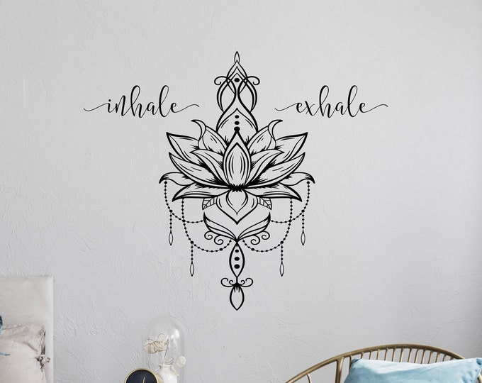 Inhale exhale wall art, lotus flower decor, lotus mandala, wall decal, Inhale Exhale decal, breathe wall decal, yoga wall art, lotus decal