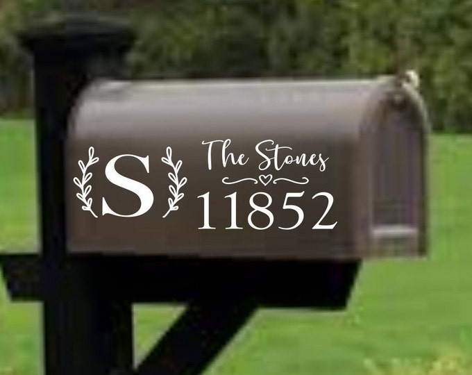Monogram mailbox decal sticker last name address mailbox numbers personalized mailbox