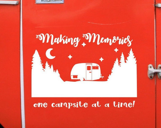 Making memories one campsite at a time, custom RV decal, forest rv decal, personalized rv gift, rv camper decal, camping decal, happy camper