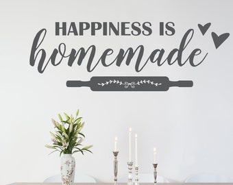 Happiness is homemade Decal, Kitchen Decal, Kitchen Decor, Kitchen wall decal, Kitchen quotes, vinyl wall art, Happiness sticker