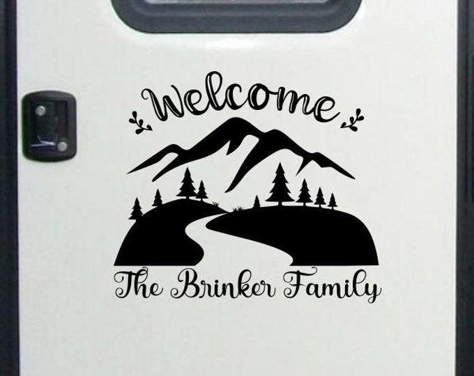Welcome to our camper rv door decal, travel trailer decor, welcome rv decal, rv family name decal, welcome camper decal, custom rv decal