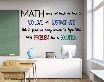 Math Decals, Mathematics Decor, Mathematics Art, Math Wall Decals, Math Wall  Art, Math Classroom Decor, Classroom Decals, Classroom Decor