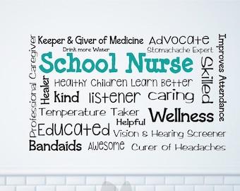 School nurse wall decal, school nurse decor, school nurse office, school nurse sign, nurse wall art, custom nurse decor,