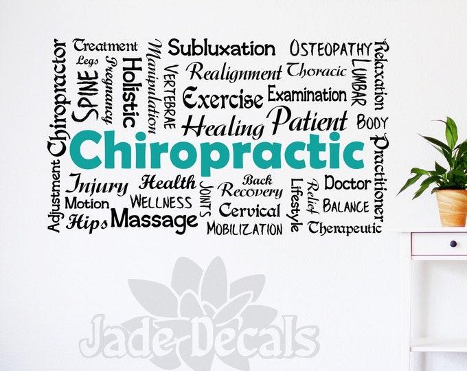 Chiropractic decal, Chiropractic wall art, chiropractor art, osteopath, osteopathic, medicine decal, medicine wall art, holistic healing