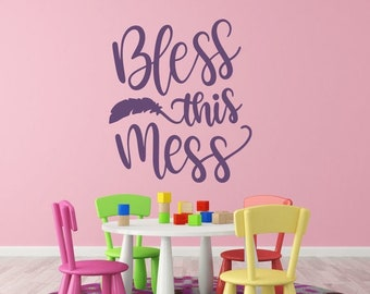 Bless this mess wall decal, bless this mess vinyl decal, bless this mess sign