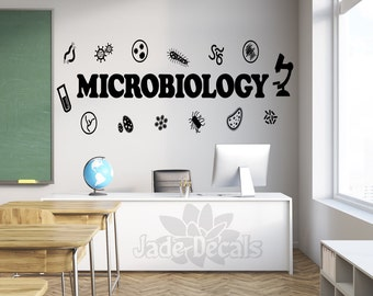 Microbiology wall decal, microbiology decor, classroom wall decal, science wall art