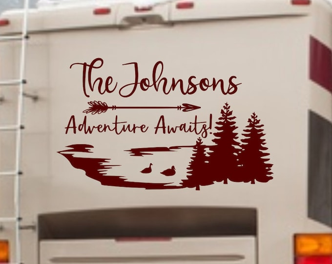 Lake rv decal, last name rv decal, adventure awaits, rv camper decal, rv vinyl decal, lake with ducks decal, forest rv decal, lake life