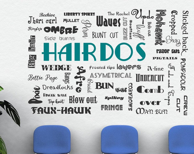 Hair wall decal, hairdo hairdos decal, hair salon beauty salon vinyl decal // beauty shop decor
