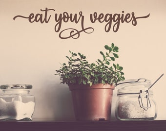 Eat your veggies wall decal, vegetable wall decal, veggie wall decal, eat your greens, vegetable decor, vegetable wall art