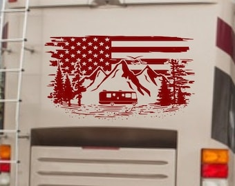 Patriotic rv decal, personalized rv decal, flag rv decal, flag camper decal, american flag rv decor, custom rv decal, flag camper decor