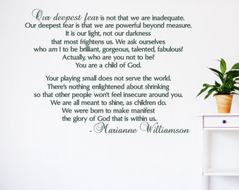 Our deepest fear wall decal, Marianne Williamson quote, child of god, inspirational wall art