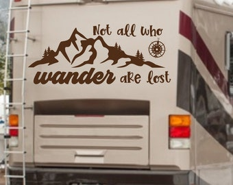 RV decal, not all who wander are lost, mountain decal, Camper vinyl decal, wander decal, wanderlust, compass decal