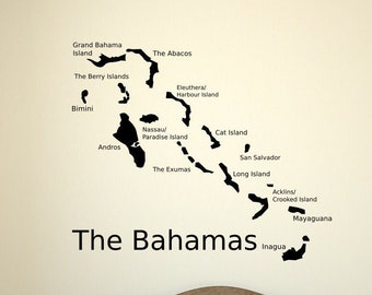 The Bahamas wall decal, Bahama Islands map, the bahamas decal