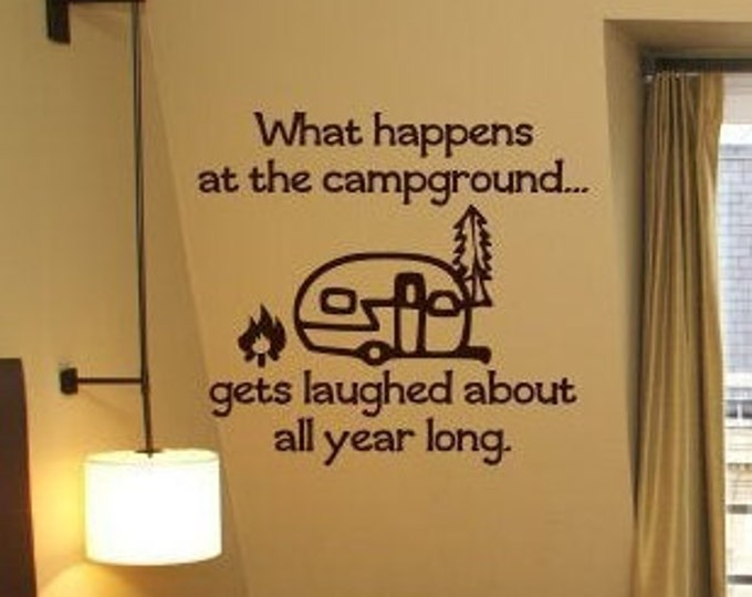 What happens camping vinyl decal with vintage camper// what happens at the campground