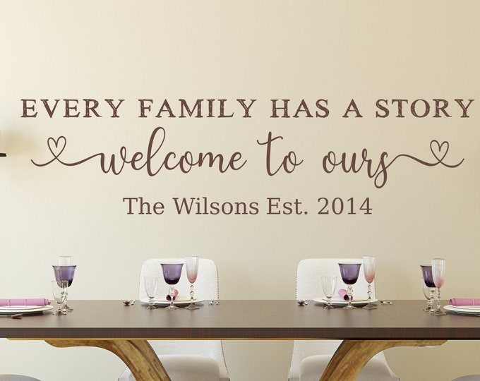 Last name decal, established decal, family wall decal, welcome decal, Every family has a story, welcome to ours