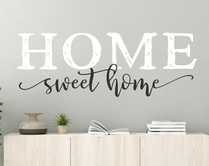 Home sweet home farmhouse wall decal - wall decor - home sweet home sign, home decor, new home gift, home sign