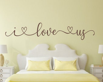 Bedroom decal, I love us, bedroom wall decal, romantic wall art, i love us decal, this is us, i love you, photo wall decal, love wall decor