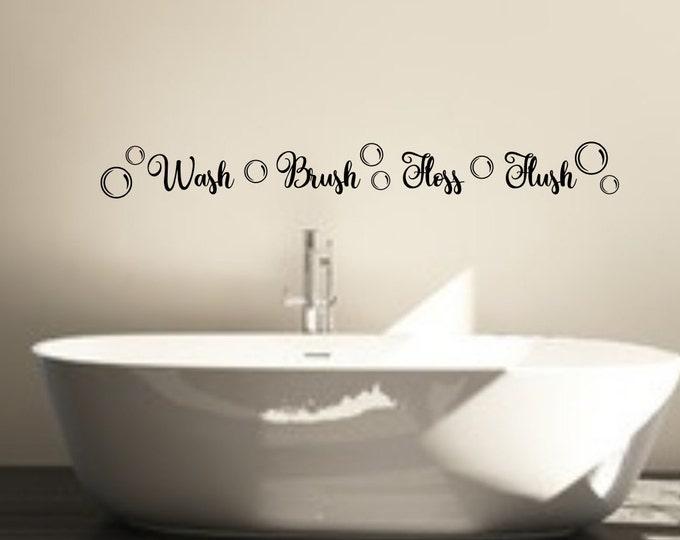 Wash Brush Floss Flush, bathroom wall decal, bathroom mirror decal, kids bathroom decal, decal for mirror, bathroom wall decor