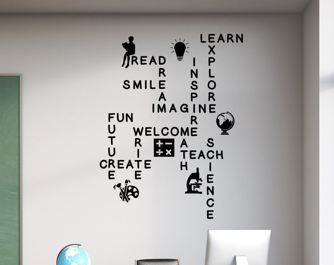 Classroom word wall, School wall art decal, teacher wall decal, science wall art, reading wall art, math wall art, crossword wall art