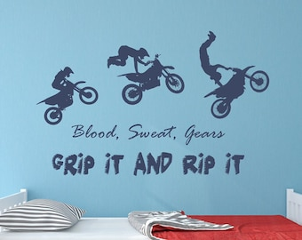 "Motocross decor, motocross gift, motocross decal- ""Blood sweat gears, grip it and rip it"""