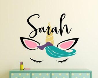 Girls name decal, unicorn wall decal, girls name decor, girls room decal, unicorn nursery, girls unicorn decor