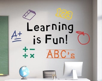 Learning is fun wall decal// Kindergarten and preschool decor