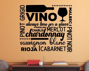 Wine wall decal, wine bar decor, wine decal for wall, bar wall decor, wine decal, subway art