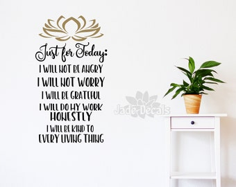 Reiki wall decal, Just for today, Reiki principles, reiki wall art, energy healing decal