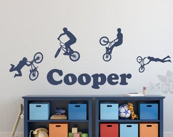 Bmx wall decal, name wall decal, bmx wall art, boys room decor, sports wall decal, teen room decor, boys bedroom decal