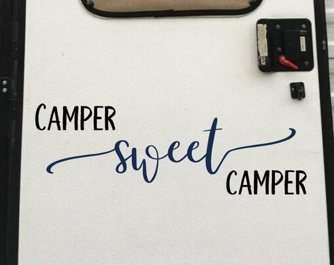 Camper sweet camper, rv decal, camper decor, camper decal, camper door decal, camper wall decal, home sweet camper, home sweet home