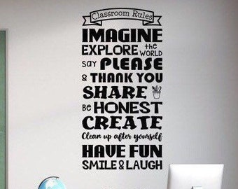 Classroom rules decal, classroom wall decal, classroom decor, classroom decoration, classroom door sign,