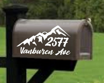 Mountain Mailbox decal, address decal, mailbox numbers, mailbox stickers, mailbox lettering, mailbox design with trees