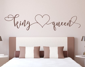 King and queen decal // master bedroom decal // headboard decal, her king his queen