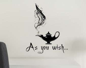 As you wish decal, wish wall decal, genie lamp decal // genie in a lamp, aladdin decor