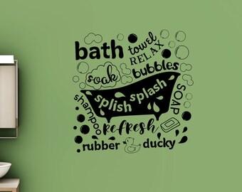 Kids Bathroom wall decor, Bathroom decal, bathroom wall decal, bath decal, bath decor, bubble bath, splish splash, kids bathroom decor