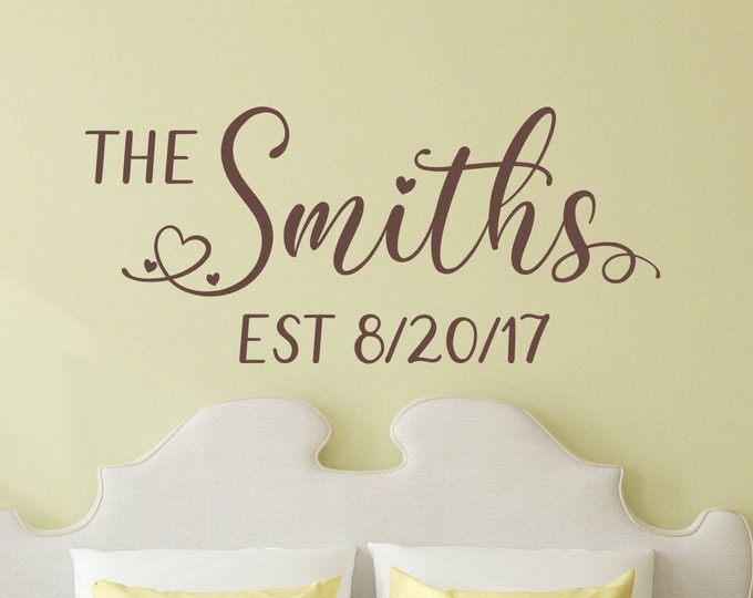 Last name wall decal, Established decal,  romantic bedroom decor, custom decal, personalized decal, anniversary gift, newlywed gift