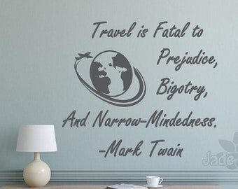 travel wall decal, Mark twain quote, travel lovers gift, mark twain art, travel wall art, travel wall decor