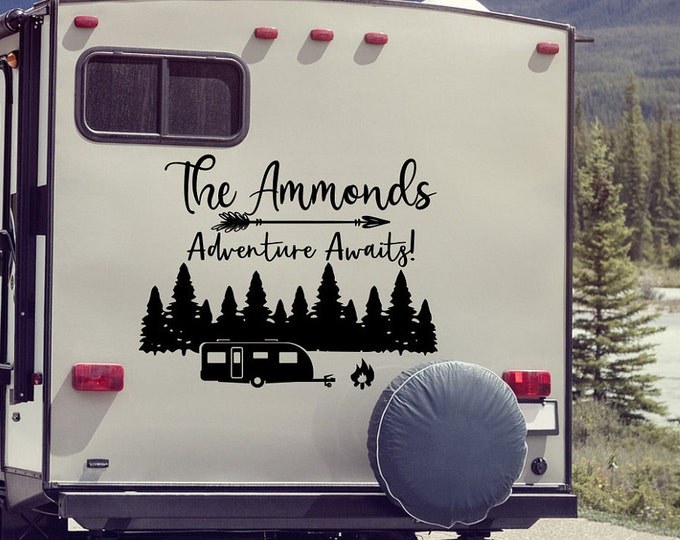 Rv last name decal, Adventure awaits, Motorhome decal, camper decal, Camper last name sticker, rv sticker