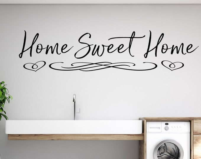 Home sweet home decal, Home sweet home wall decal - Home sweet home vinyl decal - Entryway decor - Entryway decal - Entryway vinyl decal