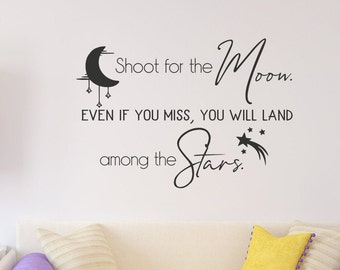 Shoot for the moon wall decal, reach for the stars, moon and stars, inspiration wall art, inspirational quote, crescent moon, shooting star