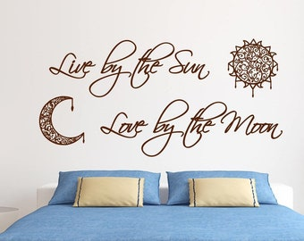 sun and moon wall decal, Romantic wall art// Live by the sun, love by the moon // Master bedroom decal, sun moon wall decal