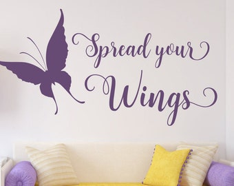 Butterfly wall decal, girls room decal, Spread your wings, butterfly wall art, butterfly decal,