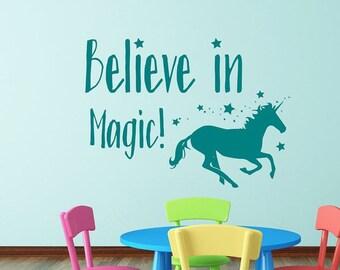Magic Unicorn wall decal, girls room decor, Believe in magic,  unicorn decal, girls room decal, unicorn wall art
