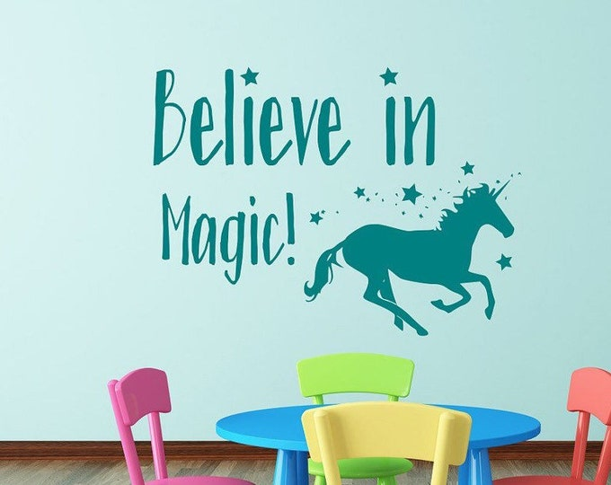 Magic Unicorn wall decal, girls room decor, Believe in magic,  unicorn decal, girls room decal, unicorn wall art