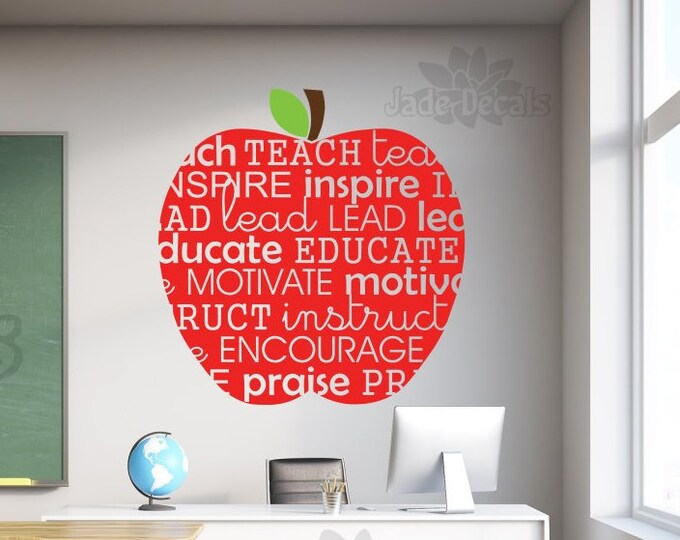 Teacher apple wall decal, apple wall decal, decal for teacher, classroom decor, teacher wall decal
