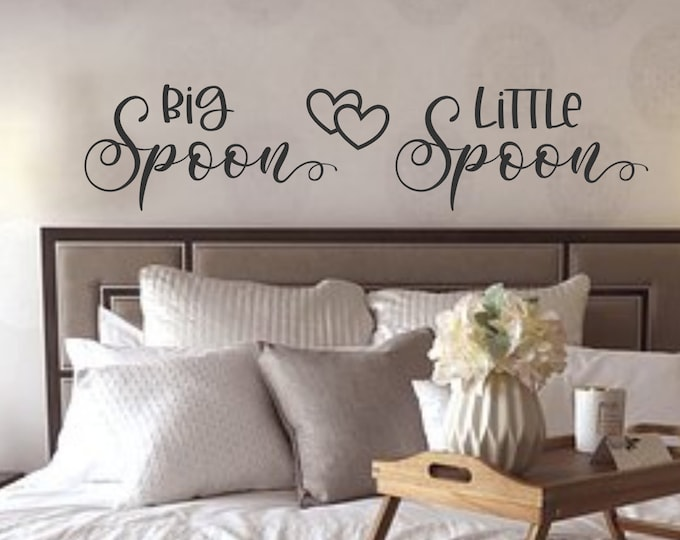 Couples wall art, bedroom wall decal, Big spoon little spoon, wall decal, master bedroom art, bedroom wall art, lets cuddle